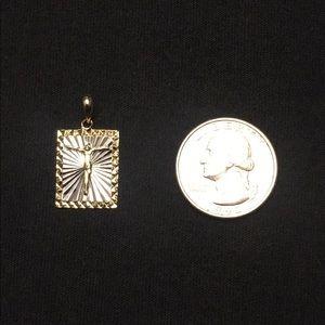Gold Jesus Square Pendant .925 Silver